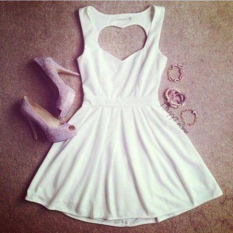 White open bake dress, purple sparklie high heels, golden braclet.