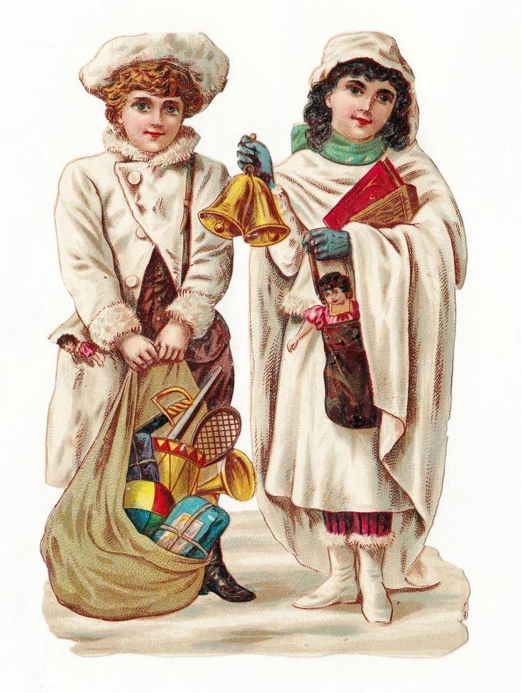 Oblaten Glanzbild  scrap die cut chromo Winterkinder mit Sack voll mit Geschenke: