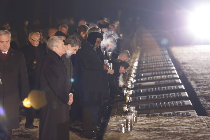 70th anniverary of the liberation of Auschwitz. Members of state delegations place candles at the Monument in Birkenau dedicated to the victims of Auschwitz.