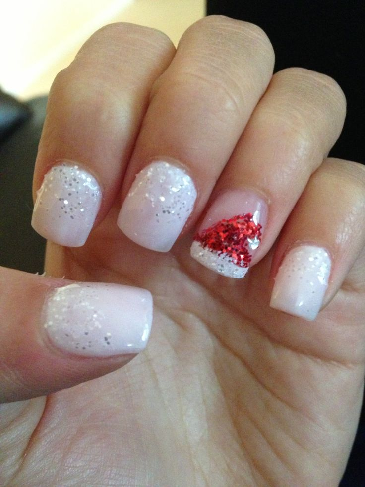 Santa-inspired acrylic nails