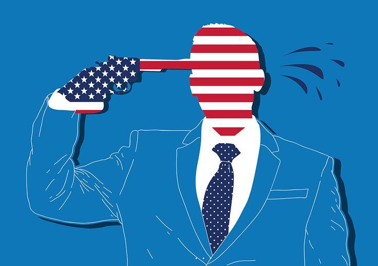 Why has America done so little to stop gun violence? guns, weapons, usa, united states, america, blood, violence, editorial, illustration, graphic, vector, flat, minimal, art, salzmanart.com, salzman international, federico gastaldi
