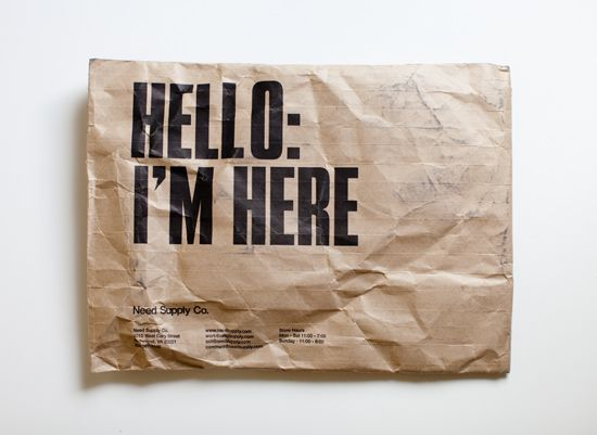 "I received a package in the mail today from Need Supply Co. and it came in this! Seriously, though, isn't getting an unexpected package delivery the best? And even better when your purchase comes in a bag with ""Hello: I'm here"" printed on it?"