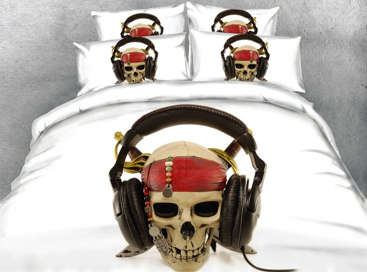==> [Free Shipping] Buy Best Royal Linen Source 4 Parts Per Set Funny Skull Theme Music lover 3d Hd digital Bedding Set Online with LOWEST Price | 32638269369