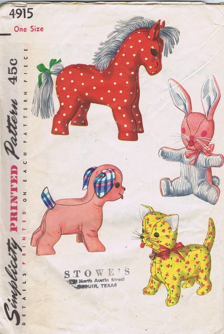 sewing templates for stuffed animals - vintage stuffed toys 1950s sewing pattern 4915 simplicity