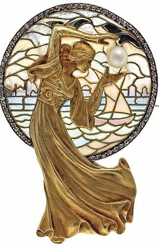 Wonderful Art Nouveau Plique a Jour Gold and Diamond brooch, lady holding pearl.  Lovely!