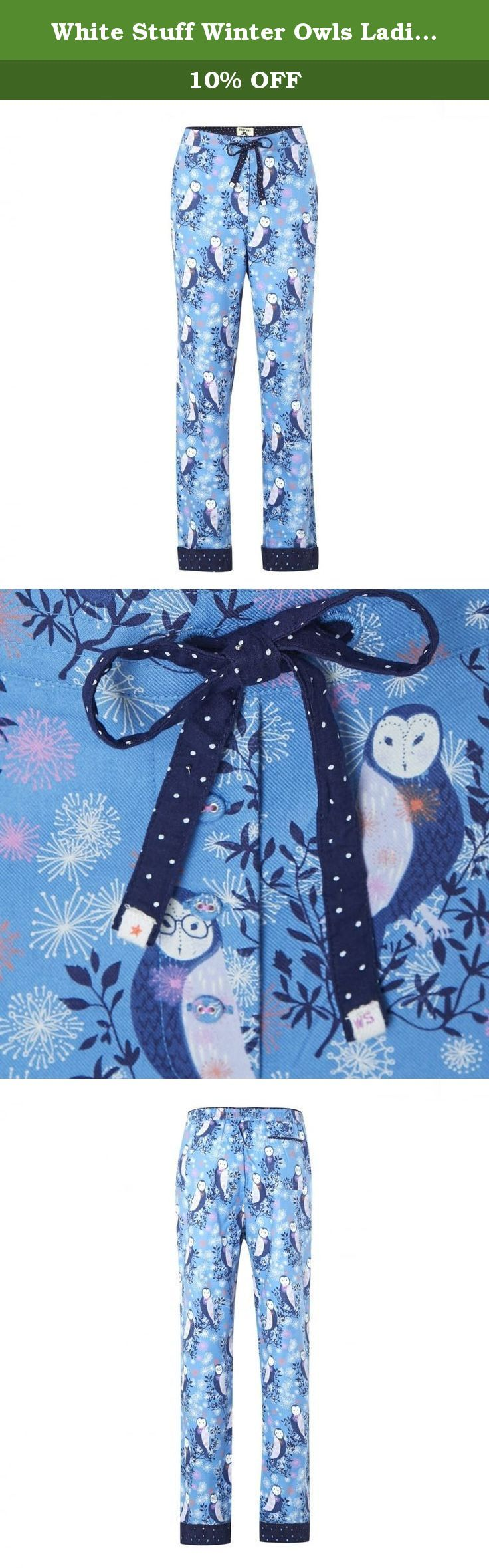 White Stuff Winter Owls Ladies Pj Bottom M Corn Blue. Update your pjs for the new season. Comfy, cute and made from cotton-twill, these bottoms have an easy elastic waist. In case the adorable Winter Owl print isn't enough for you, we've trimmed them in boderie panels that the cuffs, too. Composition: 100% Cotton Care: Machine Washable.