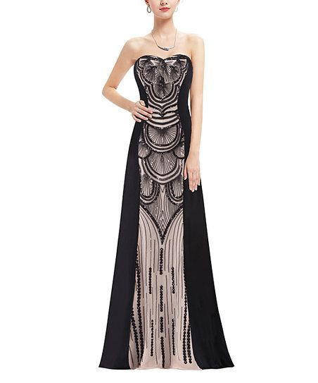 Ever Pretty Black Sequin Strapless Gown   zulily