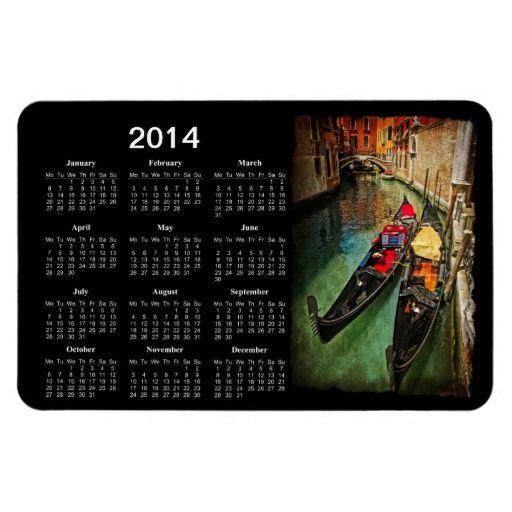 SOLD [6] Venetian gondolas 2014 calendar flexible magnet