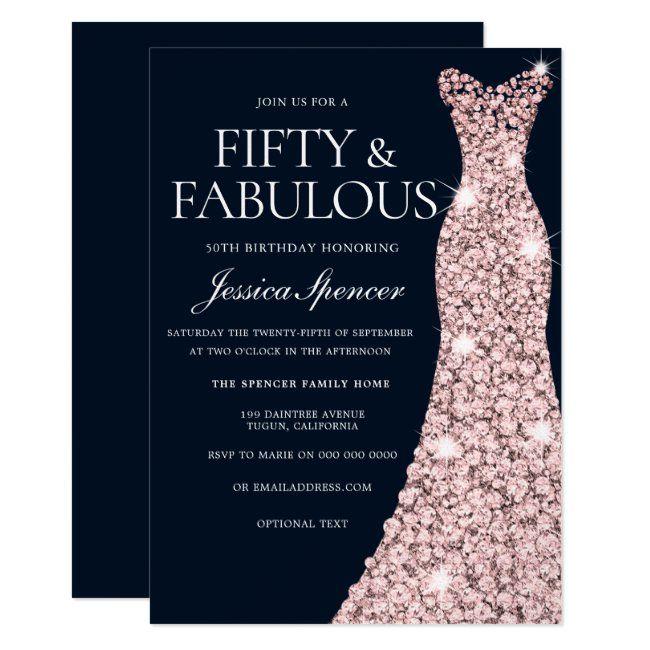 Navy Rose Gold Sparkle Dress 50th Birthday Invitation Zazzle Com 50th Birthday Invitations Elegant Birthday Party 50th Birthday