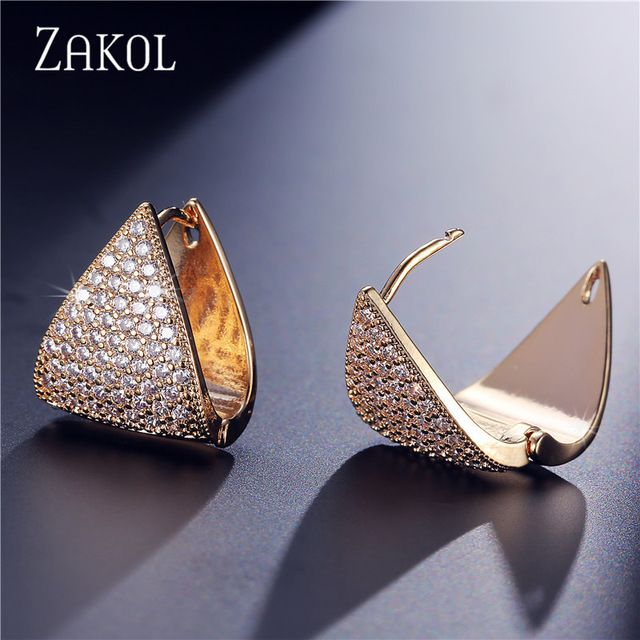 Limited Offer $5.70, Buy ZAKOL Noble Women/Ladies Hoop Earrings Top Quality Crystal Zirconia Micro Inlay Jewelry Unique Triangle Earring FSEP600