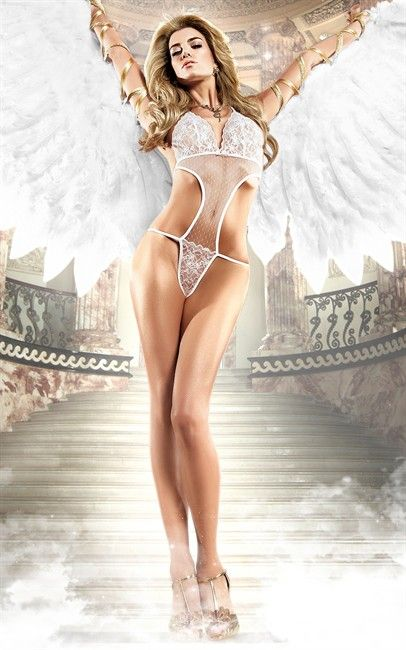 Ozsale - Womens White Soft Cup Lace And Mesh Negligee