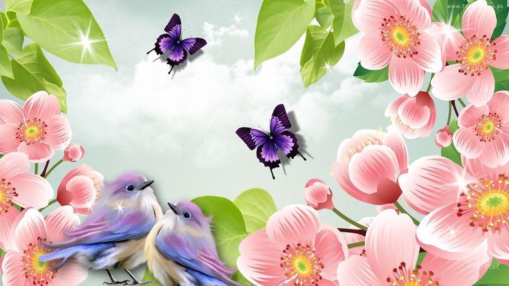Wiosna, Grafika, Kwiaty, Motyle, Ptaki