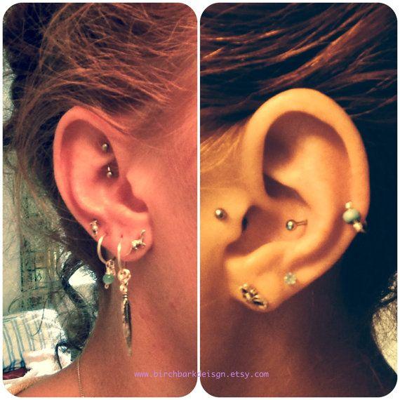 Thick 18 Gauge Set Of Three Cartilage Earrings Turquoise Beaded Nose Rings Cat S Eye Hoops Ear Cuff Helix Hoop Piercing Jewelry In 2018