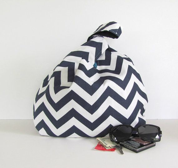 Chevron Knot Handbag Medium / Large Knitting Tote Bag