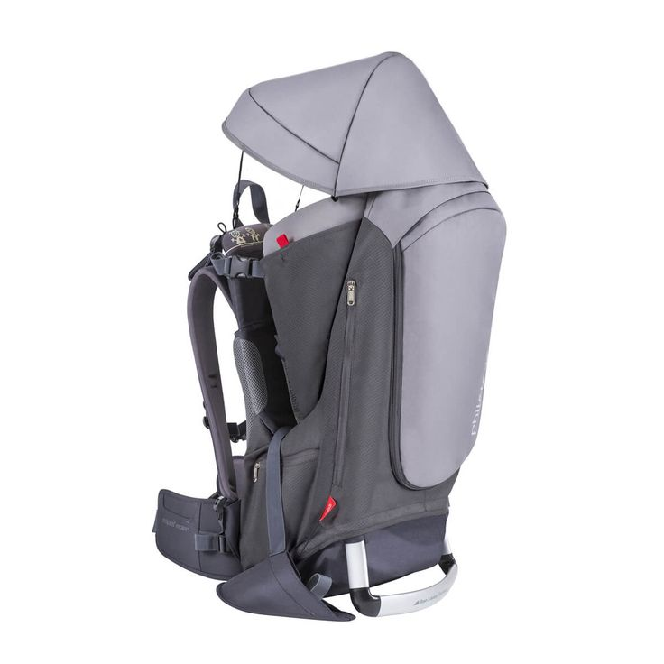 phil&teds escape outdoor adventure child carrier - 3/4 view in charcoal with hood attached