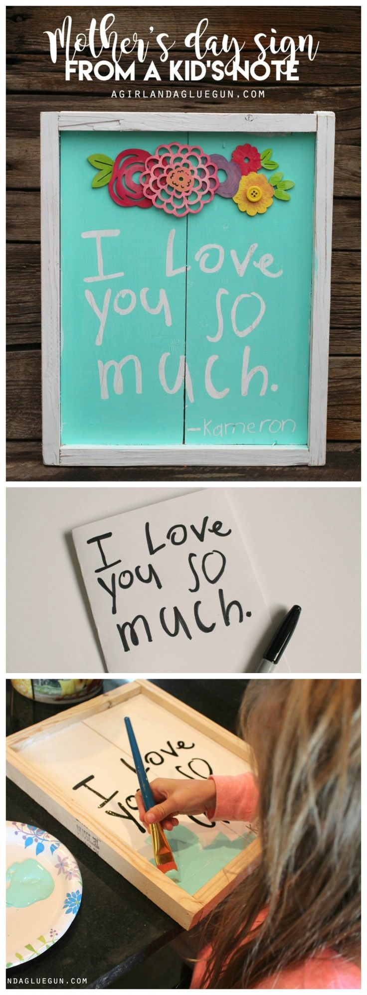 the best mother's day present idea--turn your child's note into a sweet sign