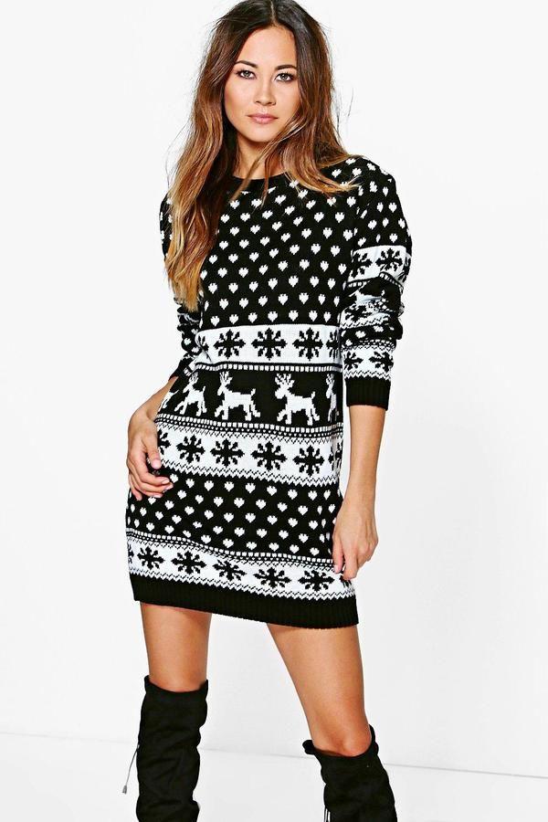 boohoo Lottie Reindeers & Snowflake Christmas Jumper Dress