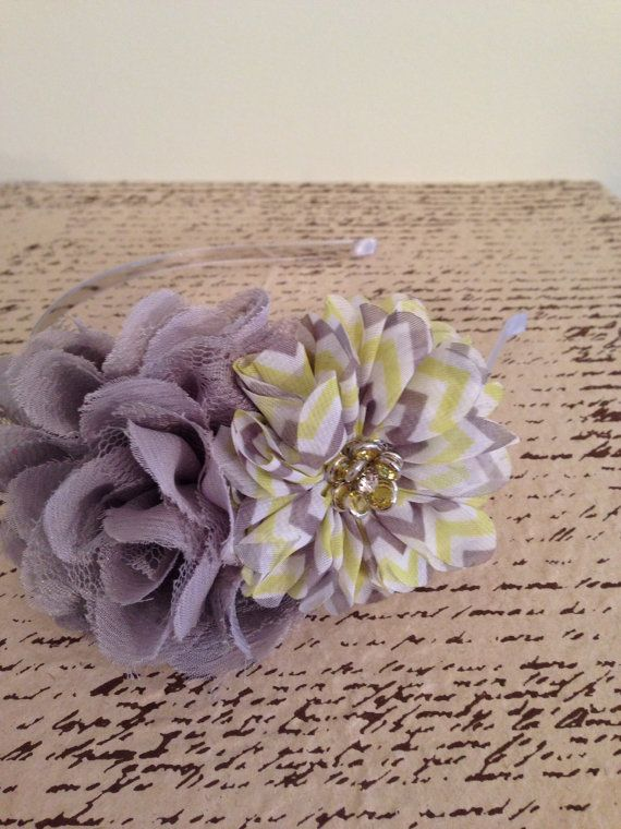 Grey and yellow shabby chevron fabric flower by DonnaBellaBows, $10.95