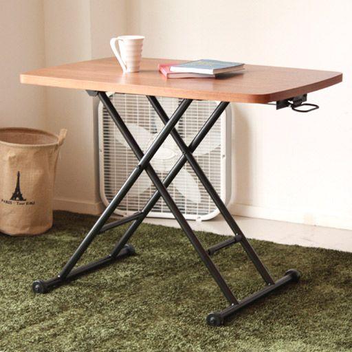 ヴォールリフトテーブル 使い込むほど味わい深い風合いが感じられる木目調デスクテーブル。