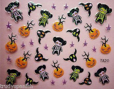 halloween nail art stickers decals glitter neon cats pumpkins bats witches 20