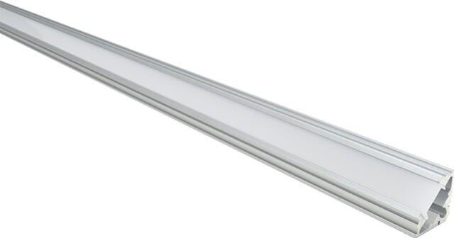 Profil aluminiu cu montare in colt, util pentru a realiza sisteme de iluminat in care doriti montare unei benzi LED cu alimentare la tensiune 12V. Profilul din aluminiu 100cm pentru banda LED 12V este prevazut cu dispersor alb mat si cu accesoriile de prindere.