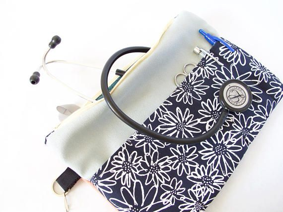 B&W FLOWER Stethoscope Pouch. Cute Stethoscope Bag. Cute Nurse