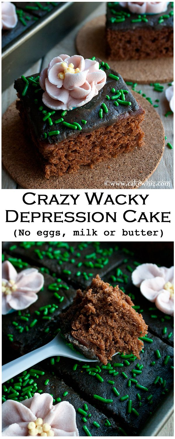 CRAZY WACKY DEPRESSION CAKE... made with no eggs, no butter and no milk! Top it all off with delicious chocolate buttercream icing and sprinkles... Pure bliss! From cakewhiz.com