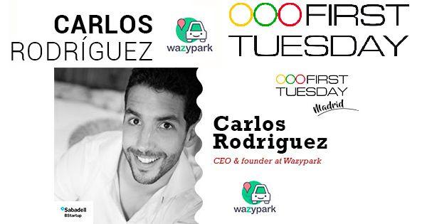 El fundador de Wazypark Carlos Rodríguez en el primer First Tuesday Madrid del 2017
