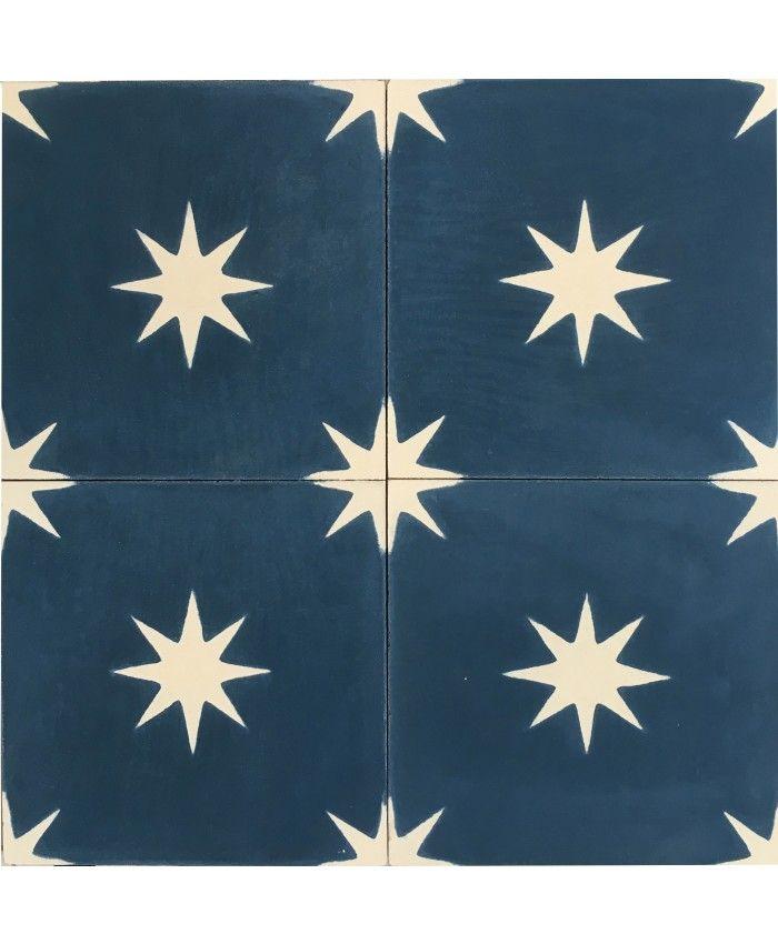 Estrellitta Marine Blue Encaustic Cement Tile