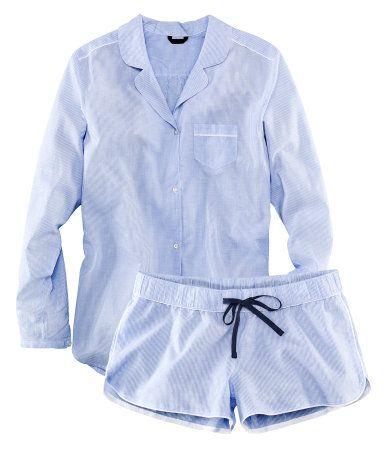 H&M Pyjama finement rayé en coton tissé, frais et léger. Chemise ample avec boutonnage devant et en bas de manche. Modèle avec une poche de poitrine. €20