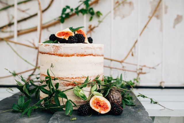 Demi-naked cake   Amy Lewin Photography   see more on: http://burnettsboards.com/2015/01/botanical-beauty-greenhouse-wedding-editorial/