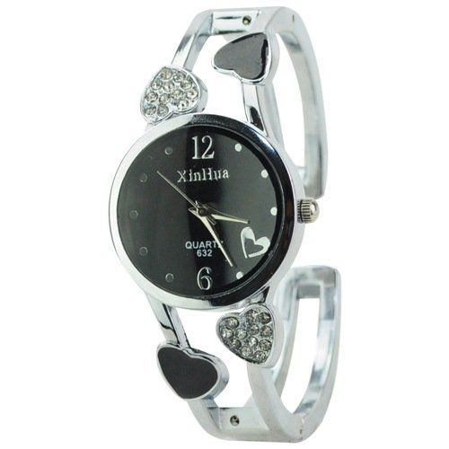 ELEOPTION Bracelet Design Quartz Watch with Heart Rhinestone Stainless Steel Band Free women's Watch Box (Loving-Black)