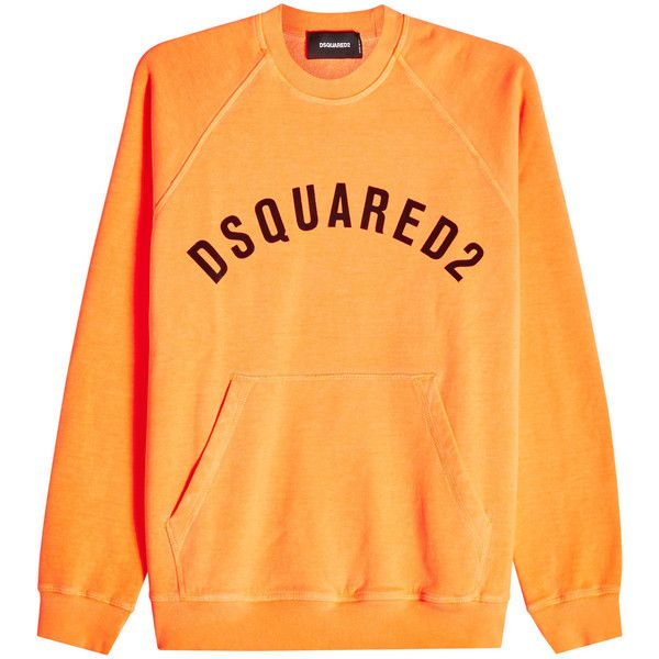 Dsquared2 Printed Cotton Hoody (£195) ❤ liked on Polyvore featuring men's fashion, men's clothing, men's hoodies, orange, mens cotton hoodies, mens hoodies, mens urban hoodies and mens sweatshirt hoodies