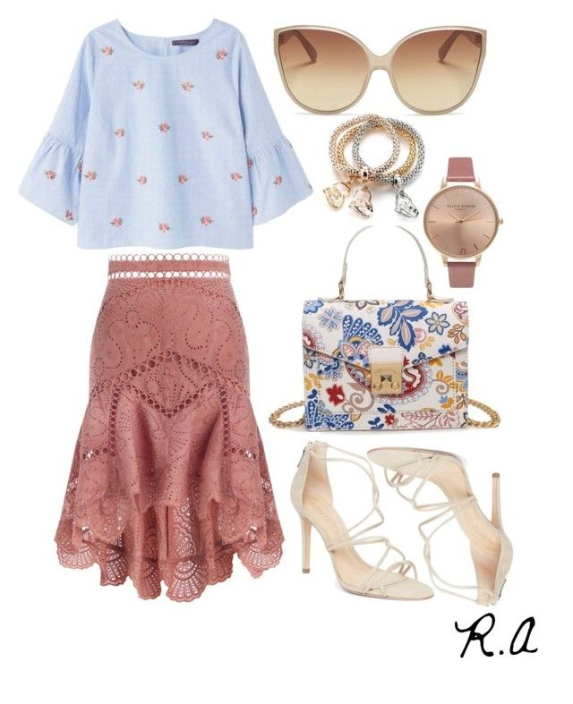 Mix Patern and Fabric for Summer Floral by ratihasmarani on Polyvore featuring Violeta by Mango, Zimmermann, Schutz, Olivia Burton and Linda Farrow