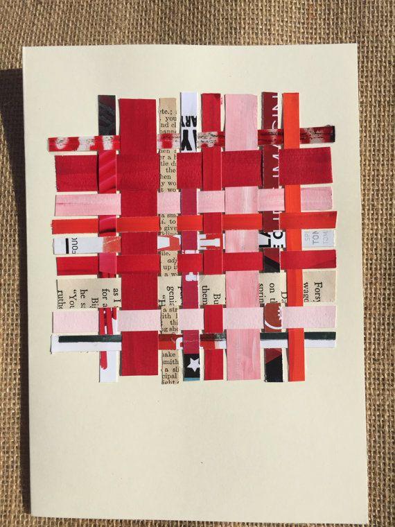 study in red paper weaving notecard by BrokenpiecesArt on Etsy