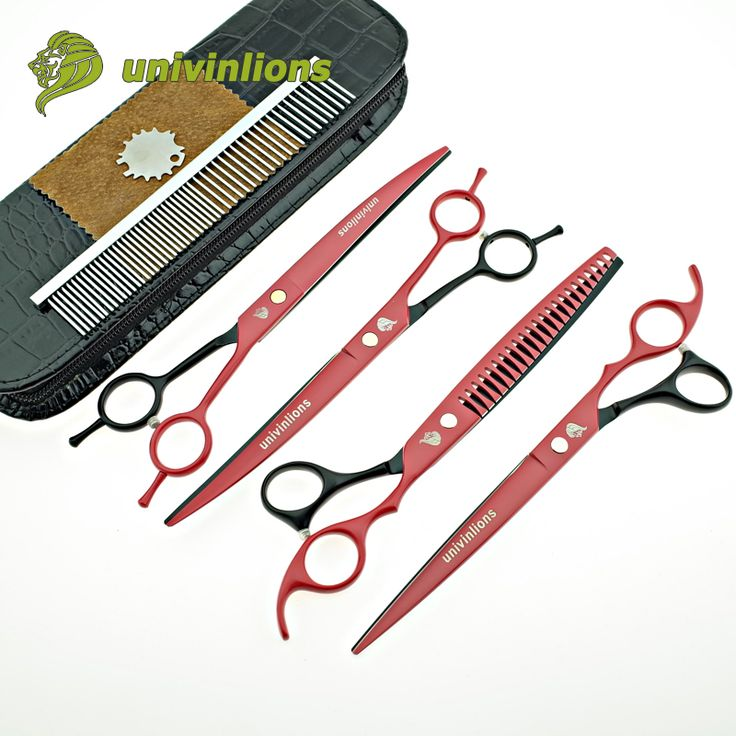 "8"" univinlions japan dog grooming scissors animal hair scissors curved pet scissors set cat scissors kit hand clippers scisors"