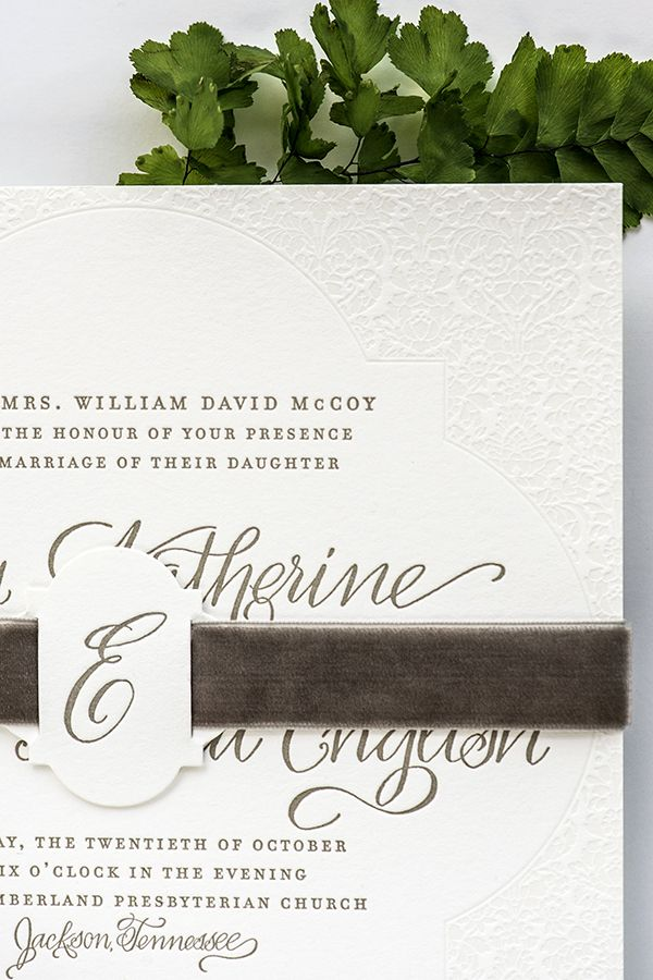 Elegant Letterpress Calligraphy #Wedding Invitations: http://ohsobeautifulpaper.com/2015/01/elegant-letterpress-calligraphy-wedding-invitations/ | Invitation Design: August Blume | Calligraphy: Elizabeth Hardin | Photo: Jackie Osborne Photography