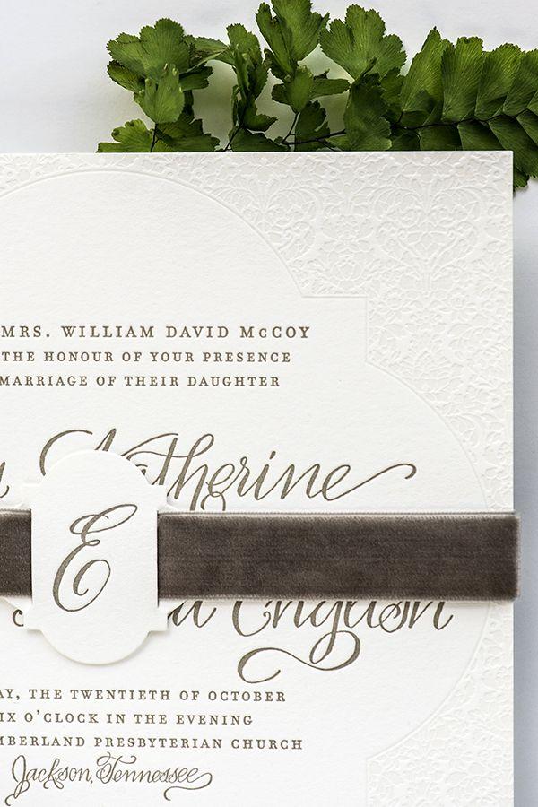 Elegant Letterpress Calligraphy #Wedding Invitations: http://ohsobeautifulpaper.com/2015/01/elegant-letterpress-calligraphy-wedding-invitations/ | Invitation Design: August Blume | Calligraphy: Elizabeth Hardin | Photo: Jackie Osborne Photography