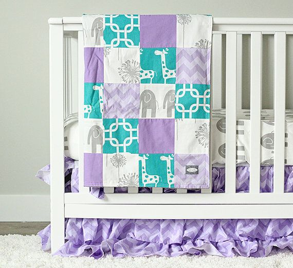 Purple And Turquoise Baby Bedding With Giraffes Elephants Perfect Crib For A S Nursery Future Stanworth Pinterest