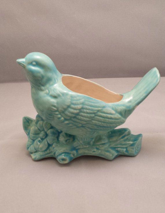 Bird Planter Aqua Vase Vintage  Planter Home by CynthiaJoyCeramics, $25.00