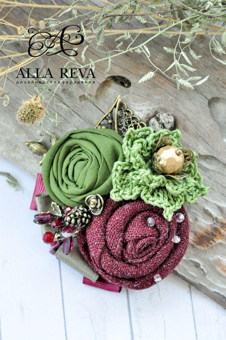 """Купить Брошь """"Гранатовый сад"""" - комбинированный, брошь, брошь цветок, цветы из ткани, текстиль"""