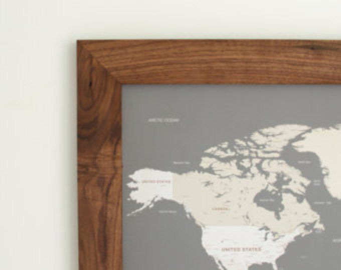 World Map - Push Pin Travel Map - Framed World Map-Anniversary Gift -World Map Wedding - Travel Map - Push Pin Map - Christmas Gifts For Her