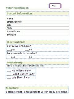 Voter Registration form for student voters!