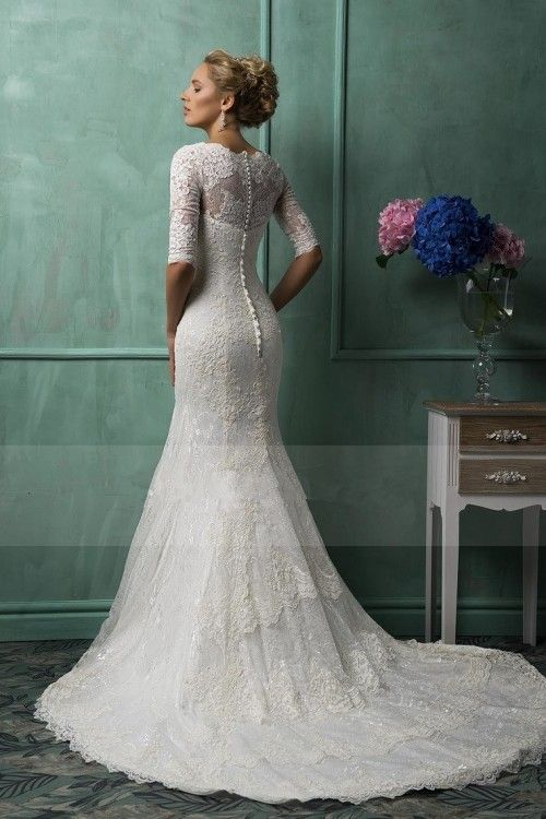 2016 Wedding Dresses Mermaid V Neck Half Sleeve Lace With Applique And Beads