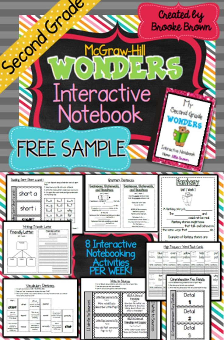 FREE SAMPLE for SECOND GRADE McGraw-Hill Wonders Interactive Notebooks! | 2nd Grade | Literacy | Interactive Journals