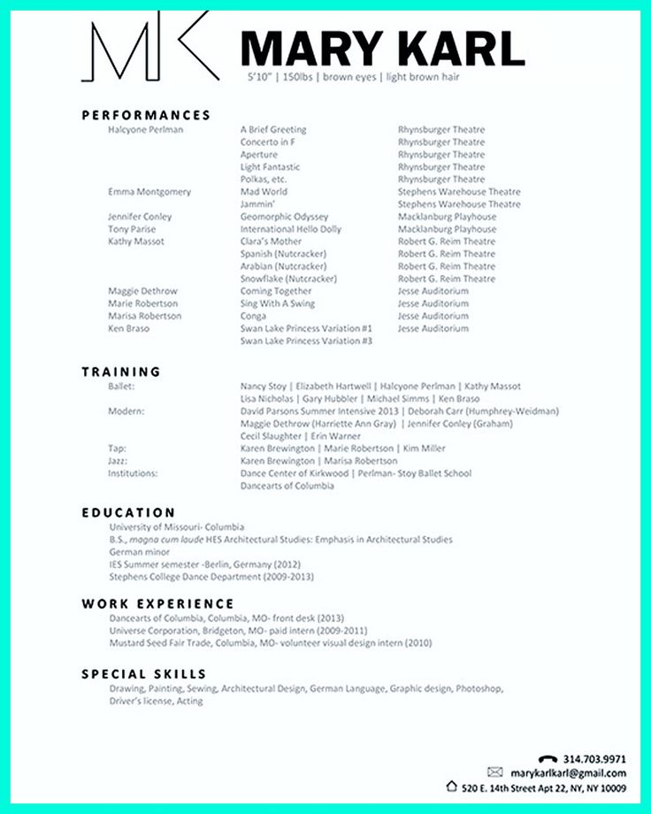 Dancer Resume Template 166 Best Resume Templates And Cv Reference