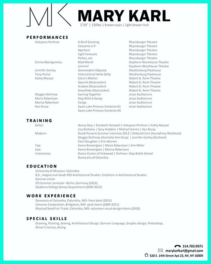 23 best Sample Resume images on Pinterest Sample resume, Resume - dance resume for college