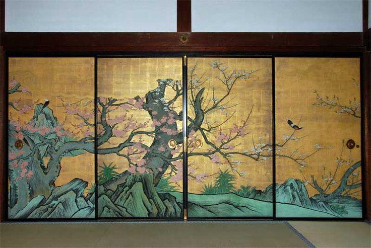 Shoheki-ga in Kobai-no-ma of Daikaku-ji Temple in Kyoto. Red-Plum -Blossoms room) of Shinden building. The original painting, an important cultural property, was painted by KANO Sanraku