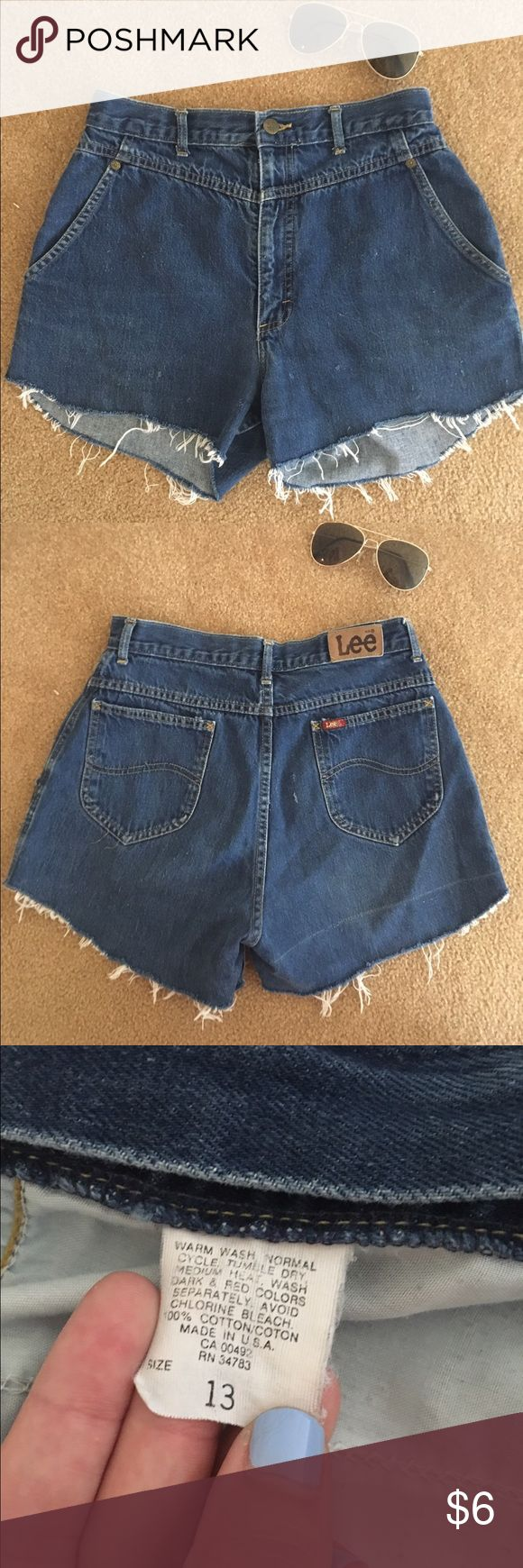 Homemade Lee High Rise Denim Shorts Homemade Lee High Rise Denim Shorts. These were originally jean pants that were converted to cute cutoffs! Flattering high waist fit. Tag says size 13. Lee Shorts Jean Shorts