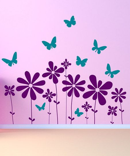 This darling decal set adds interest to a delightfully decorated bedroom or playroom. High-grade vinyl construction with a matte finish is modern and clean and the bitty butterflies and flowers are perfectly playful. All it takes is a squeegee and a pinch of patience to make it look like it was professionally applied.